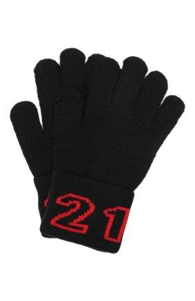 Детские шерстяные перчатки N21 черного цвета, арт. N21216/N0119/N21N4U   Фото 1 (Материал: Синтетический материал, Текстиль, Шерсть)