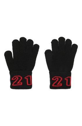 Детские шерстяные перчатки N21 черного цвета, арт. N21216/N0119/N21N4U   Фото 2 (Материал: Синтетический материал, Текстиль, Шерсть)