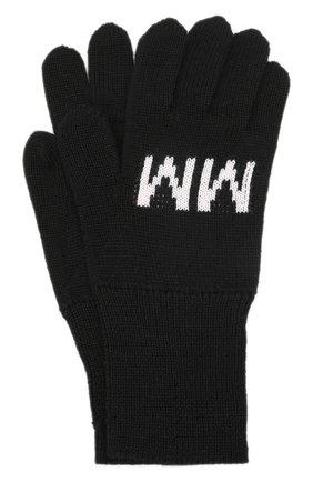 Детские шерстяные перчатки MM6 черного цвета, арт. M60068-MM029   Фото 1 (Материал: Синтетический материал, Шерсть, Текстиль)