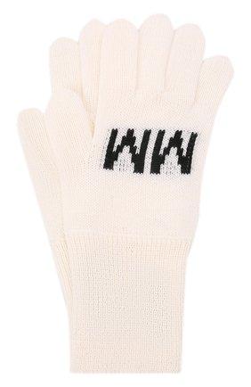 Детские шерстяные перчатки MM6 белого цвета, арт. M60068-MM029   Фото 1 (Материал: Синтетический материал, Текстиль, Шерсть)