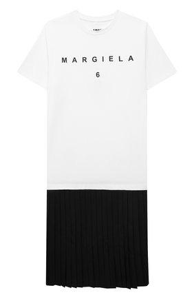 Детское хлопковое платье MM6 черно-белого цвета, арт. M60051-MM022 | Фото 1 (Материал внешний: Хлопок; Рукава: Короткие; Девочки Кросс-КТ: Платье-одежда; Случай: Повседневный)