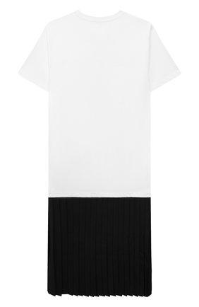 Детское хлопковое платье MM6 черно-белого цвета, арт. M60051-MM022 | Фото 2 (Материал внешний: Хлопок; Рукава: Короткие; Девочки Кросс-КТ: Платье-одежда; Случай: Повседневный)