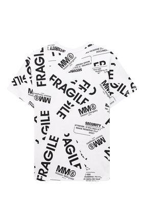 Детская хлопковая футболка MM6 белого цвета, арт. M60040-MM012   Фото 2 (Материал внешний: Хлопок; Рукава: Короткие; Девочки Кросс-КТ: футболка-одежда)