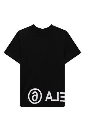 Детская хлопковая футболка MM6 черного цвета, арт. M60033-MM010   Фото 1 (Рукава: Короткие; Материал внешний: Хлопок; Девочки Кросс-КТ: футболка-одежда)