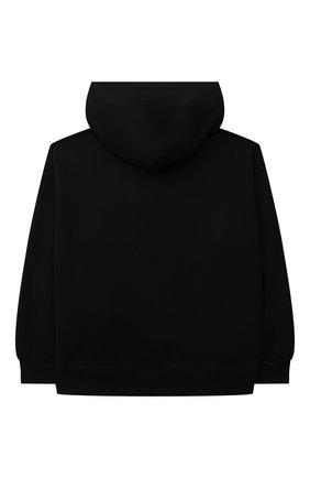 Детский хлопковое худи MM6 черного цвета, арт. M60015-MM006   Фото 2 (Рукава: Длинные; Материал внешний: Хлопок; Девочки Кросс-КТ: Толстовка-одежда)