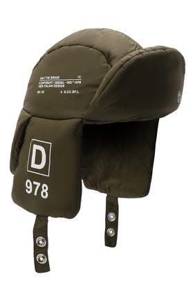 Детского шапка-ушанка DIESEL зеленого цвета, арт. J00361-KXB9C | Фото 1 (Материал: Синтетический материал, Текстиль)