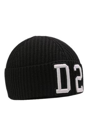 Детского шапка из шерсти и хлопка DSQUARED2 черного цвета, арт. DQ0452-D00WC | Фото 1 (Материал: Хлопок, Шерсть, Текстиль)