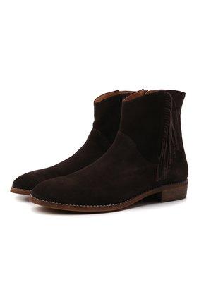 Детские замшевые ботинки BEBERLIS темно-коричневого цвета, арт. 21517/28-30   Фото 1 (Материал внутренний: Натуральная кожа)