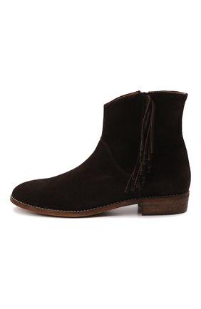 Детские замшевые ботинки BEBERLIS темно-коричневого цвета, арт. 21517/28-30   Фото 2 (Материал внутренний: Натуральная кожа)