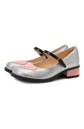 Детские туфли GUCCI серебряного цвета, арт. 662220/H09E0   Фото 1 (Материал внутренний: Натуральная кожа; Материал внешний: Текстиль)