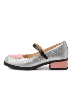 Детские туфли GUCCI серебряного цвета, арт. 662220/H09E0   Фото 2 (Материал внутренний: Натуральная кожа; Материал внешний: Текстиль)