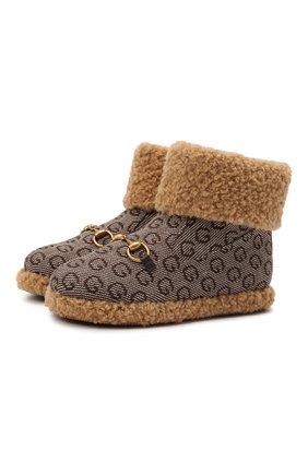Детские шерстяные ботинки GUCCI коричневого цвета, арт. 666273/2KU90   Фото 1 (Материал внутренний: Текстиль; Материал внешний: Шерсть)