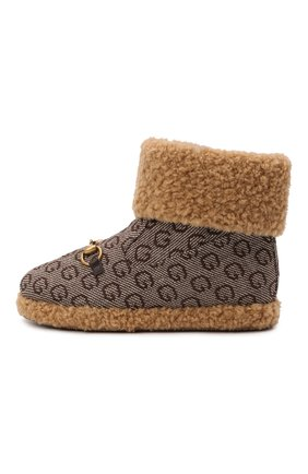 Детские шерстяные ботинки GUCCI коричневого цвета, арт. 666273/2KU90   Фото 2 (Материал внутренний: Текстиль; Материал внешний: Шерсть)