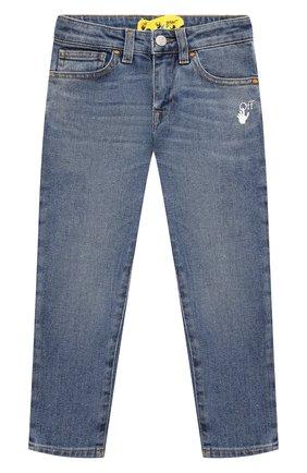 Детские джинсы OFF-WHITE голубого цвета, арт. 0BYA002F21DEN002   Фото 1 (Материал внешний: Хлопок; Ростовка одежда: 10 - 11 лет   140 - 146см, 12 лет   152 см, 4 года   104 см, 6 лет   116 см, 8 лет   128 см)