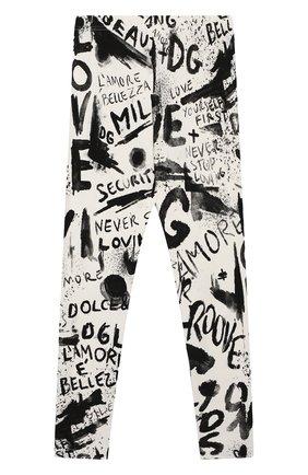 Детские хлопковые леггинсы DOLCE & GABBANA черно-белого цвета, арт. L5JP5B/FSGX0/8-14   Фото 2 (Материал внешний: Хлопок; Девочки Кросс-КТ: Брюки-спорт; Ростовка одежда: 10 - 11 лет   140 - 146см, 12 лет   152 см, 8 лет   128 см)