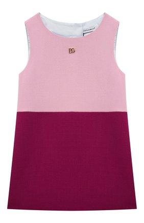 Детское шерстяное платье DOLCE & GABBANA розового цвета, арт. L52DV9/G7BBA/2-6 | Фото 1 (Материал подклада: Вискоза; Материал внешний: Шерсть; Рукава: Короткие; Девочки Кросс-КТ: Платье-одежда; Случай: Повседневный; Ростовка одежда: 2 года | 92 см, 3 года | 98 см, 4 года | 104 см, 5 лет | 110 см, 6 лет | 116 см)