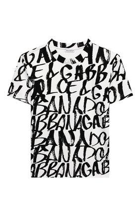 Детская хлопковая футболка DOLCE & GABBANA белого цвета, арт. L4JTDU/G7BCZ/8-14   Фото 1 (Рукава: Короткие; Материал внешний: Хлопок; Ростовка одежда: 10 - 11 лет   140 - 146см, 12 лет   152 см, 8 лет   128 см)