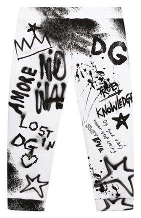 Детские хлопковые джоггеры DOLCE & GABBANA черно-белого цвета, арт. L1JPDR/G7A6U   Фото 2 (Материал внешний: Хлопок; Ростовка одежда: 12 мес   80 см, 18 мес   86 см, 24 мес   92 см)