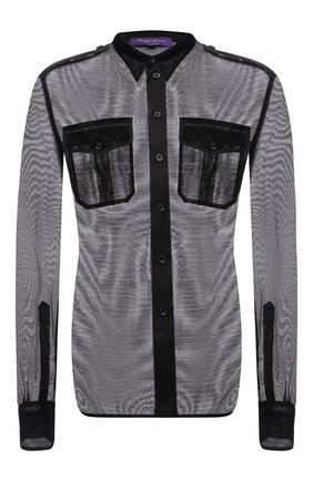 Женская шелковая рубашка RALPH LAUREN черного цвета, арт. 290845654 | Фото 1 (Материал внешний: Шелк; Рукава: Длинные; Длина (для топов): Стандартные; Женское Кросс-КТ: Рубашка-одежда; Принт: Без принта; Стили: Романтичный)