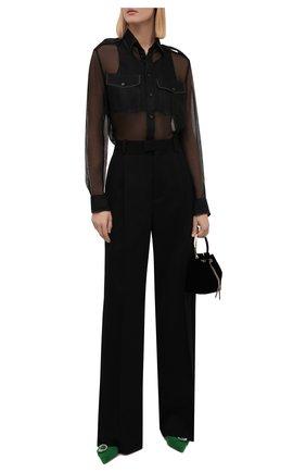 Женская шелковая рубашка RALPH LAUREN черного цвета, арт. 290845654 | Фото 2 (Материал внешний: Шелк; Рукава: Длинные; Длина (для топов): Стандартные; Женское Кросс-КТ: Рубашка-одежда; Принт: Без принта; Стили: Романтичный)