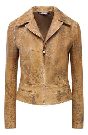 Женская кожаная куртка RALPH LAUREN коричневого цвета, арт. 290845728 | Фото 1 (Длина (верхняя одежда): Короткие; Материал подклада: Купро; Рукава: Длинные; Стили: Кэжуэл)