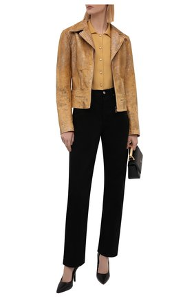 Женская кожаная куртка RALPH LAUREN коричневого цвета, арт. 290845728 | Фото 2 (Длина (верхняя одежда): Короткие; Материал подклада: Купро; Рукава: Длинные; Стили: Кэжуэл)