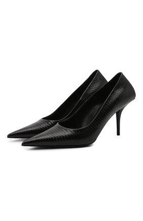 Женские кожаные туфли knife BALENCIAGA черного цвета, арт. 572879/WBCI0 | Фото 1 (Материал внутренний: Натуральная кожа; Каблук тип: Шпилька; Каблук высота: Высокий; Подошва: Плоская)