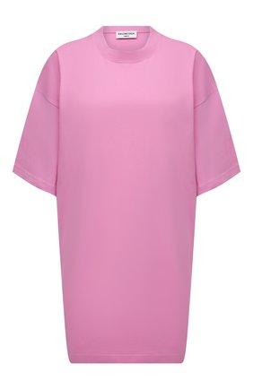 Женская хлопковая футболка BALENCIAGA розового цвета, арт. 676589/TLV92 | Фото 1 (Рукава: 3/4; Длина (для топов): Удлиненные; Материал внешний: Хлопок; Принт: Без принта; Стили: Спорт-шик)