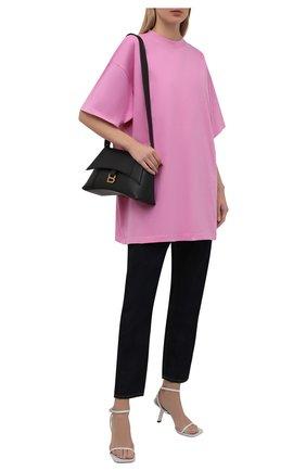 Женская хлопковая футболка BALENCIAGA розового цвета, арт. 676589/TLV92 | Фото 2 (Рукава: 3/4; Длина (для топов): Удлиненные; Материал внешний: Хлопок; Принт: Без принта; Стили: Спорт-шик)