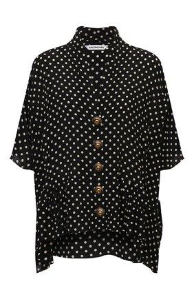 Женская шелковая блузка BALENCIAGA черного цвета, арт. 675417/TLLH8 | Фото 1 (Материал внешний: Шелк; Рукава: 3/4; Длина (для топов): Стандартные; Женское Кросс-КТ: Блуза-одежда; Принт: С принтом; Стили: Романтичный)