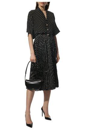 Женская шелковая блузка BALENCIAGA черного цвета, арт. 675417/TLLH8 | Фото 2 (Материал внешний: Шелк; Рукава: 3/4; Длина (для топов): Стандартные; Женское Кросс-КТ: Блуза-одежда; Принт: С принтом; Стили: Романтичный)