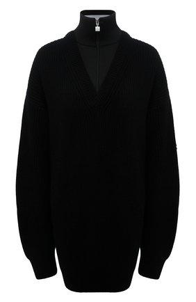 Женский шерстяной свитер BALENCIAGA черного цвета, арт. 675351/T1611   Фото 1 (Длина (для топов): Удлиненные; Материал внешний: Шерсть; Рукава: Длинные; Женское Кросс-КТ: Свитер-одежда; Стили: Спорт-шик)