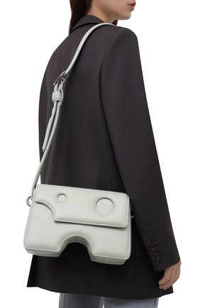Женская сумка burrow OFF-WHITE светло-зеленого цвета, арт. 0WNN026F21LEA001 | Фото 2 (Ремень/цепочка: На ремешке; Материал: Натуральная кожа; Размер: medium; Сумки-технические: Сумки через плечо)