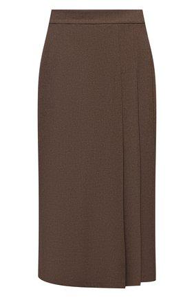 Женская шерстяная юбка RALPH LAUREN светло-коричневого цвета, арт. 290856633 | Фото 1 (Длина Ж (юбки, платья, шорты): Миди; Материал внешний: Шерсть; Женское Кросс-КТ: Юбка-одежда; Стили: Кэжуэл)