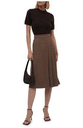 Женская шерстяная юбка RALPH LAUREN светло-коричневого цвета, арт. 290856633 | Фото 2 (Длина Ж (юбки, платья, шорты): Миди; Материал внешний: Шерсть; Женское Кросс-КТ: Юбка-одежда; Стили: Кэжуэл)