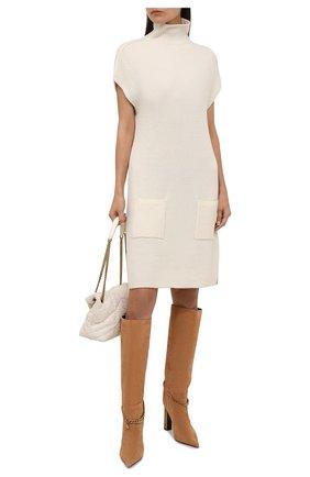 Женское кашемировое платье RALPH LAUREN кремвого цвета, арт. 290856348 | Фото 2 (Материал внешний: Кашемир, Шерсть; Женское Кросс-КТ: Платье-одежда; Рукава: Короткие; Длина Ж (юбки, платья, шорты): До колена; Кросс-КТ: Трикотаж; Стили: Кэжуэл; Случай: Повседневный)