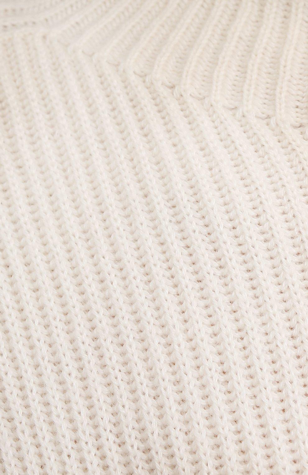 Женское кашемировое платье RALPH LAUREN кремвого цвета, арт. 290856348   Фото 5 (Материал внешний: Шерсть, Кашемир; Рукава: Короткие; Случай: Повседневный; Кросс-КТ: Трикотаж; Длина Ж (юбки, платья, шорты): До колена; Женское Кросс-КТ: Платье-одежда; Стили: Кэжуэл)