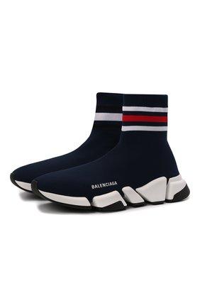 Мужские текстильные кроссовки speed 2.0 BALENCIAGA темно-синего цвета, арт. 674617/W2F60 | Фото 1 (Материал внешний: Текстиль; Материал внутренний: Текстиль; Стили: Гранж; Подошва: Массивная)