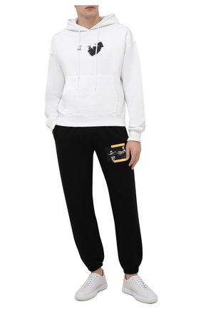 Мужской хлопковое худи OFF-WHITE белого цвета, арт. 0MBB037F21FLE016 | Фото 2 (Материал внешний: Хлопок; Рукава: Длинные; Длина (для топов): Стандартные; Мужское Кросс-КТ: Худи-одежда; Стили: Спорт-шик; Принт: С принтом)