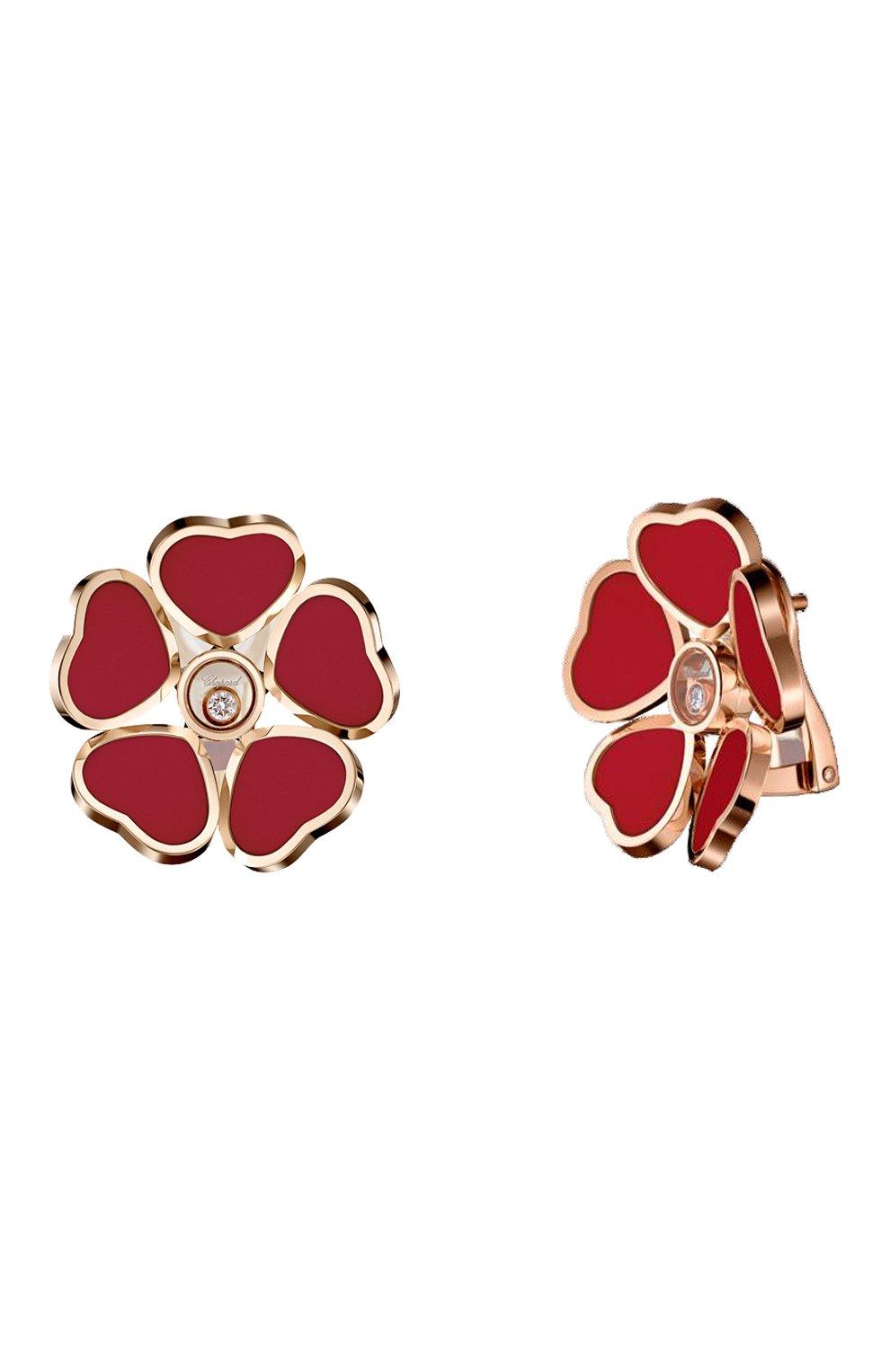 Женские серьги CHOPARD бесцветного цвета, арт. 84A085-5811 | Фото 2 (Драгоценные камни: Бриллианты; Материал сплава: Розовое золото)