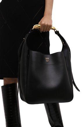 Женская сумка bianca TOM FORD черного цвета, арт. L1490T-LCL203   Фото 2 (Материал: Натуральная кожа; Размер: medium; Сумки-технические: Сумки-шопперы; Ошибки технического описания: Нет ширины)
