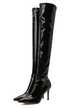 Женские ботфорты ribbon cuissard 85 GIANVITO ROSSI черного цвета, арт. G80339.85RIC.VYENENE   Фото 1 (Материал внутренний: Натуральная кожа; Высота голенища: Высокие; Подошва: Плоская; Каблук высота: Высокий; Материал внешний: Экокожа; Каблук тип: Шпилька)