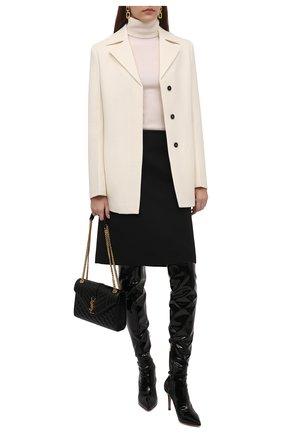 Женские ботфорты ribbon cuissard 85 GIANVITO ROSSI черного цвета, арт. G80339.85RIC.VYENENE   Фото 2 (Материал внутренний: Натуральная кожа; Высота голенища: Высокие; Подошва: Плоская; Каблук высота: Высокий; Материал внешний: Экокожа; Каблук тип: Шпилька)