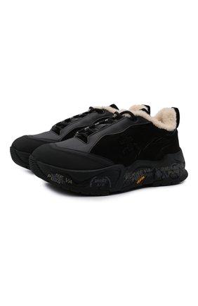 Женские комбинированные кроссовки PREMIATA черного цвета, арт. R0YTRECD/VAR203   Фото 1 (Материал утеплителя: Натуральный мех; Материал внешний: Экокожа; Подошва: Платформа)