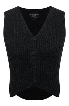 Женский кашемировый жилет EMPORIO ARMANI темно-серого цвета, арт. 8N2QX1/2MA3Z | Фото 1 (Материал внешний: Шерсть, Кашемир; Длина (верхняя одежда): Короткие; Стили: Кэжуэл)