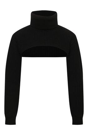 Женский пуловер REDVALENTINO черного цвета, арт. WR0KC10V/67B   Фото 1 (Рукава: Длинные; Материал внешний: Вискоза, Синтетический материал, Шерсть; Длина (для топов): Укороченные; Женское Кросс-КТ: Пуловер-одежда; Стили: Кэжуэл)