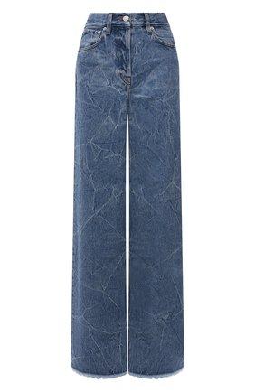 Женские джинсы DRIES VAN NOTEN синего цвета, арт. 212-012404-3381 | Фото 1 (Длина (брюки, джинсы): Удлиненные; Материал внешний: Хлопок; Кросс-КТ: Деним; Детали: Потертости; Силуэт Ж (брюки и джинсы): Широкие; Стили: Гранж)