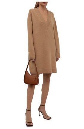 Женское шерстяное платье DRIES VAN NOTEN бежевого цвета, арт. 212-011226-3702 | Фото 2 (Материал внешний: Шерсть; Длина Ж (юбки, платья, шорты): Мини; Рукава: Длинные; Женское Кросс-КТ: Платье-одежда; Кросс-КТ: Трикотаж; Случай: Повседневный; Стили: Кэжуэл)