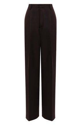 Женские шерстяные брюки DRIES VAN NOTEN коричневого цвета, арт. 212-010972-3041 | Фото 1 (Материал внешний: Шерсть; Длина (брюки, джинсы): Удлиненные; Женское Кросс-КТ: Брюки-одежда; Стили: Кэжуэл; Силуэт Ж (брюки и джинсы): Широкие)