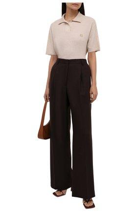 Женские шерстяные брюки DRIES VAN NOTEN коричневого цвета, арт. 212-010972-3041 | Фото 2 (Материал внешний: Шерсть; Длина (брюки, джинсы): Удлиненные; Женское Кросс-КТ: Брюки-одежда; Стили: Кэжуэл; Силуэт Ж (брюки и джинсы): Широкие)